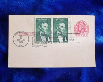 1959 First Day of Issue Abe Lincoln Postage Stamps on Postcard