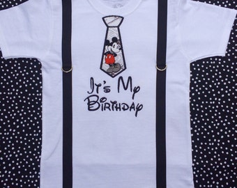 Mickey Mouse inspired birthday tie and suspender shirt, baby boy birthday shirt, mickey tie shirt