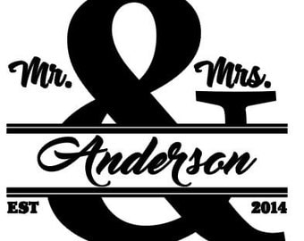 Mr. & Mrs. Last Name Decal