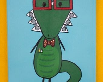 Nerdy Crocodile Painting, 8x10