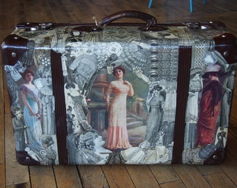Old suitcase with collage of fashion plates 1910