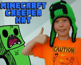 Minecraft Creeper hat with earflaps