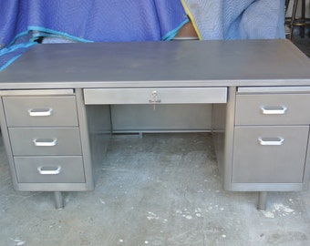 McDowell and Craig Tanker desk in Brushed steel