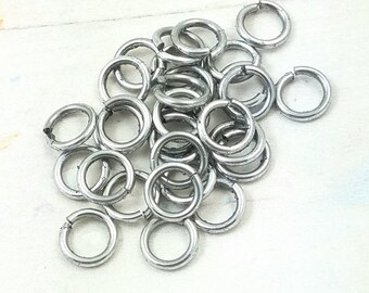 "CLEARANCE 18 Gauge Saw Cut Aluminum Jump Rings 3/16"" or 4.76MM ID  1 oz."