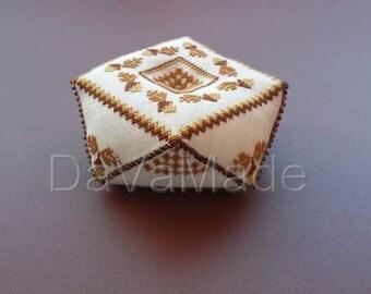 Acorn biscornu cross-stitch pattern