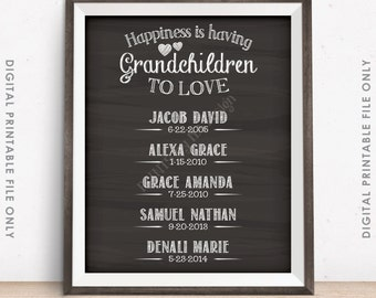 Grandchildren Sign Personalized Grandkids Sign, Custom Gift for Grandparents Gift, Grandma, Grandpa, Chalkboard Style Digital Printable File