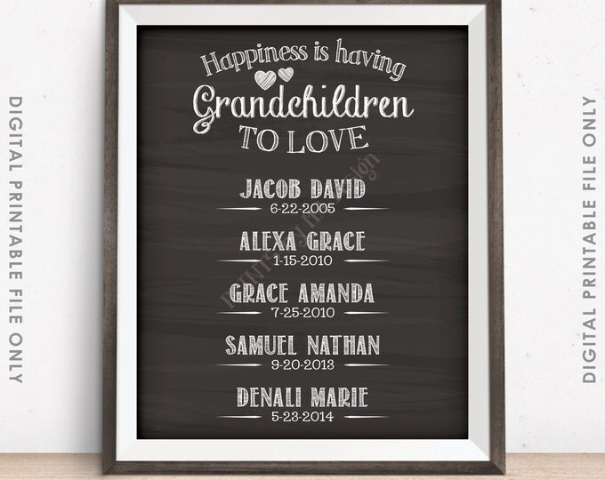Grandchildren Sign Personalized Grandkids Sign, Custom Gift for Grandparents Gift, Grandma, Grandpa, PRINTABLE Chalkboard Style Digital File