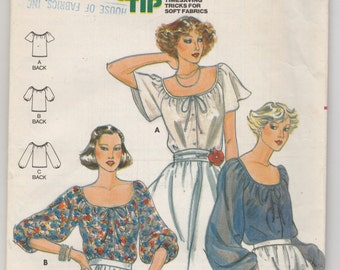 Vintage Pattern Butterick 5885 Peasant Blouse Top Bust 32.5 Uncut