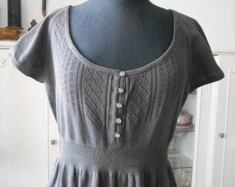 Vintage Cotton Dress COMPTOIR DES COTONNIERS,  Brown Dress,  Кnit Dress,  Medium Large, Designer Women Clothes
