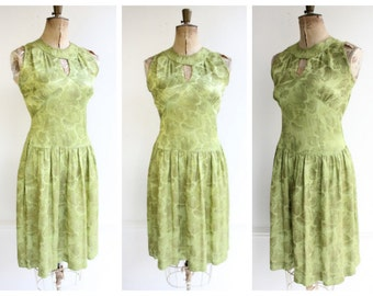 Vintage 1940's Green Silk Floral Brocade Dress ww2 pinup green floral forties goodwood revival