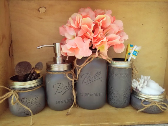 Mason Jar Bathroom Decor Gray Painted Mason Jar Bath Set – Mason Jar Bathroom Set