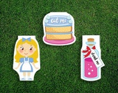 Magnetic Bookmark | Alice's Adventures In Wonderland Magnet Cute Book Bookmarks Pack of 3, Magnetic, Cute, Quirky, Kawaii, Eat Me, Drink Me
