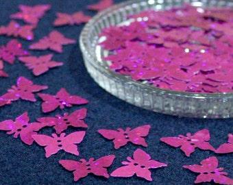 100 • 18x18 mm Pink Glitter Butterfly Sequins