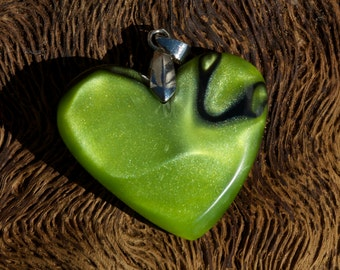 Toxic  green heart pendant