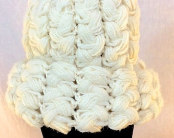 Crochet Willie Nelson Hat Beanie With Long Brown Braids And