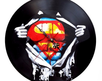 Superman, hand painted vinyl record clock