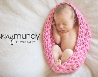 Crochet, Baby Bowl, Nest, Pink, Off White, Taupe, Preemie, Newborn, Photo Prop, Baby Shower Gift, Baby's First Photo Shoot, Boy OR Girl