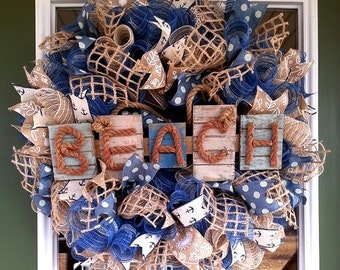 Front door wreath, Beach wreath, Mesh wreath, Nautical wreath