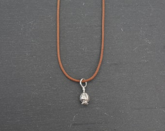 Poppy Seed Pod Leather Necklace (Sterling Silver Charm)