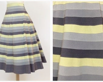 Vintage 50s gray and yellow gros grain stripe skirt - size M/L