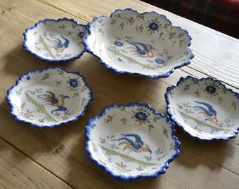 Vintage Ribet and Bonnaissies French Faience Dish and 6 Small Dishes 1920s