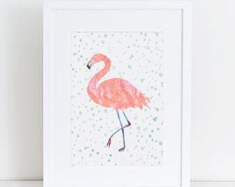 Flamingo Pink A5 & A4 Printable Art Pink Gift Ideas Flamingos Flamingo Watercolor mint Polka dot Flamingo Art Flamingo Print Flamingo Wall