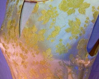 Vintage yellow oriental satin gown