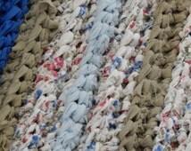 Large Rug; Rag Rug; Crocheted Rug; Doormat; Entryway Rug; Multicolored Rug; Shoe Mat; Blue; Green; White; Rug; Handmade Rug