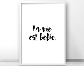 French Quote Print La Vie Est Belle, Digital Download Print Art, Printable Quote Wall Art, Instant Download Printable Art, Typography Print