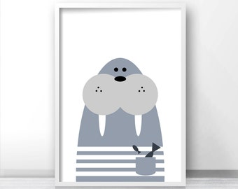 Walrus Nursery Wall Art Printable, Animal Nursery Art, Kids Wall Art, Nursery Print, Kids Print Instant Download, White Blue Nursery Decor