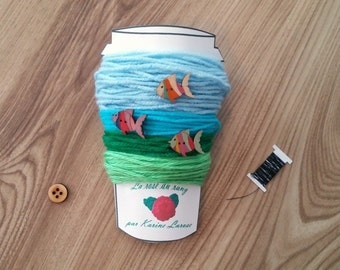 DIY crochet mug cozy kit Do it yourself aquatic landscape cup cozy