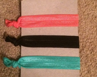 Black, Coral, and Teal Hair Ties