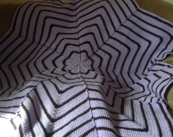 Purple and black 8 point flower throw