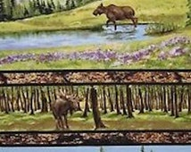 Riverwoods Fabric - Wild in the Wilderness Purple Moose Forest Scene Panel / Green, Tan, Purple, Brown, Grass, Bark Moose Panel with Black