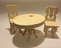 Barbie kitchen Table and Chair Set - Doll Furniture - Barbie Furniture - Blythe Furniture