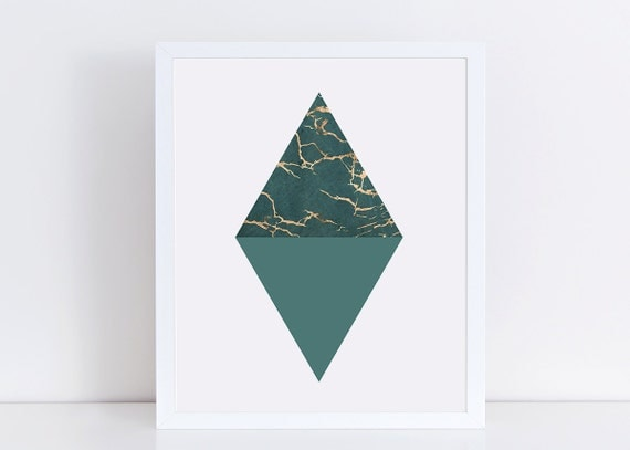 sale geometric triangle print teal wall decor gold foil. Black Bedroom Furniture Sets. Home Design Ideas