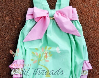 Baby Girls- Toddler Girls- Big Bow Ruffle Bottom Romper- Bubble Romper- Sun Suit- Play suit- Size 0-3m, 3-6m, 6-9m, 12-18m, 2t, 3t, 4t
