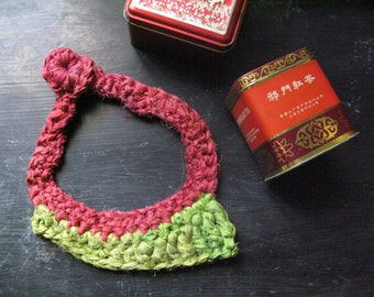 Lime necklace, silk necklace, crochet jewellery, yarn jewellery, bohemian necklace, bib necklace