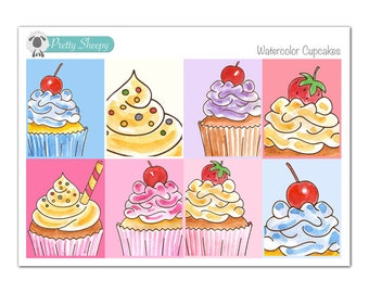 Watercolor Cupcakes Full Box Planner Stickers