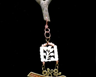 Bird Necklace with Twig Bundle and Cinnebar, N1204