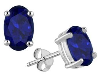 14k White Gold Deep Blue Sapphire Studs