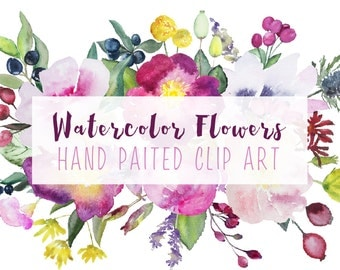 Watercolor Flowers, for personal and small commercial use