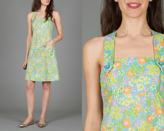 Vintage XS Bright Floral Sundress with Pockets