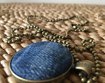 Lightly stone washed jean button pendant ball chain necklace. Handmade. Cute as a button.