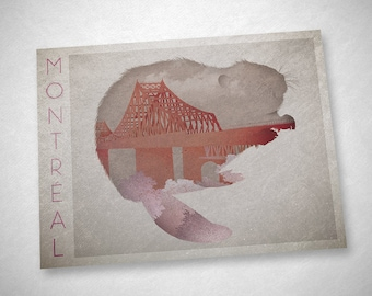 "Postcard from Montréal - Beaver and the pont Jacques-Cartier (""Montreal II - I"")"