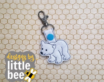 adorable polar bear key fob snap tab keychain 4x4 hoop friendly embroidery design Instant Download! bean stitch, monogram