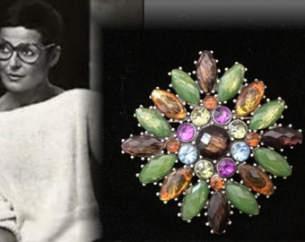 Gorgeous Vintage Retro Liz Claiborne Designer Multi-Colored Stone and Rhinestone Cluster Brooch, Signed