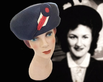 Unique Vintage Navy Blue Designer Hat with Navy,White and Red Embellishments, Circa 1960s, Michael Terre