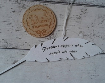 Wooden Remembrance Feather/Angel Feather/