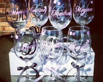 6 Personalized Bridesmaid Wine Glasses